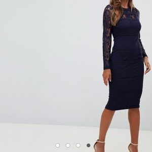 ASOS girl in mind navy grid lace dress new tags
